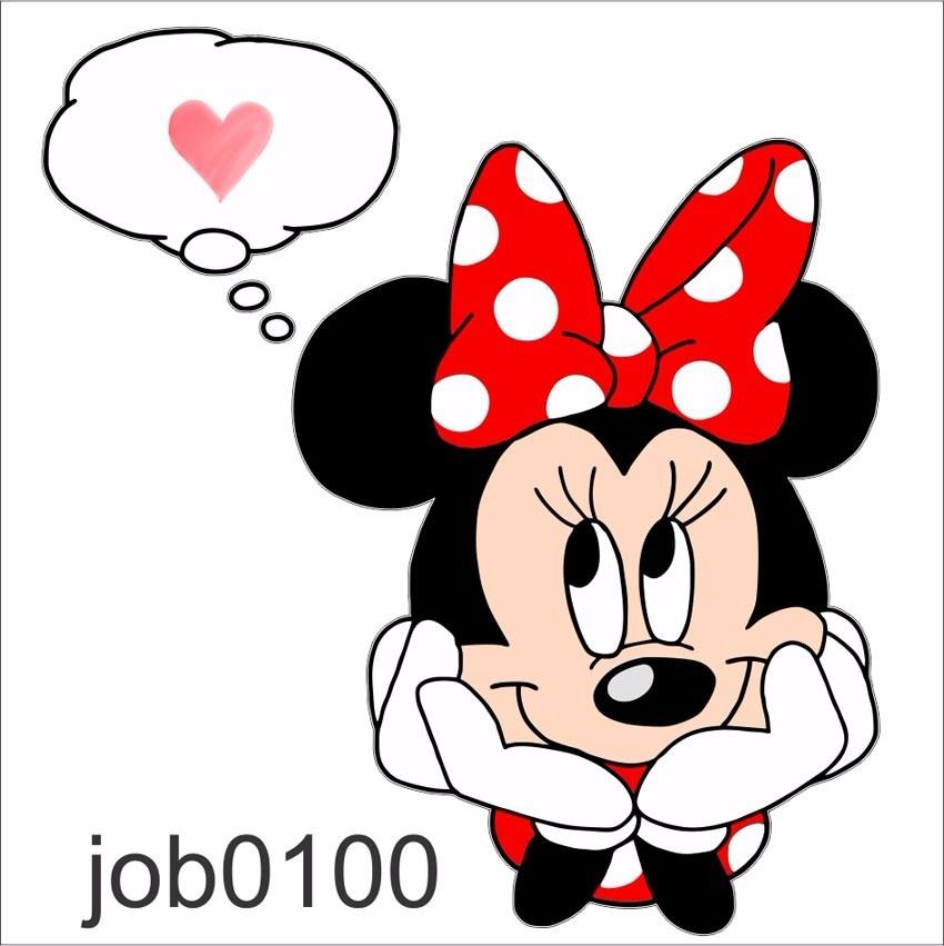 Adesivo Infantil Desenho Minnie Pensando Coracao Amo Job0100 R