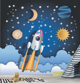 1745fc499a81f8 Adesivo Infantil Estrelas Papel Parede Céu Planeta Lua Gg660