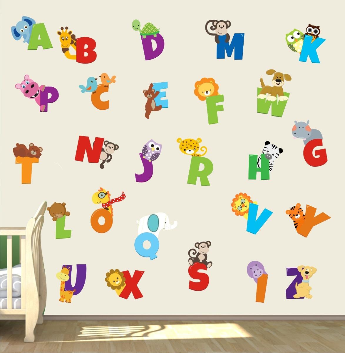 Artesanato Feltro Materiais ~ Adesivo Infantil Letras Alfabeto Girafa Leao Safari Zoo M101 R$ 148,00 em Mercado Livre