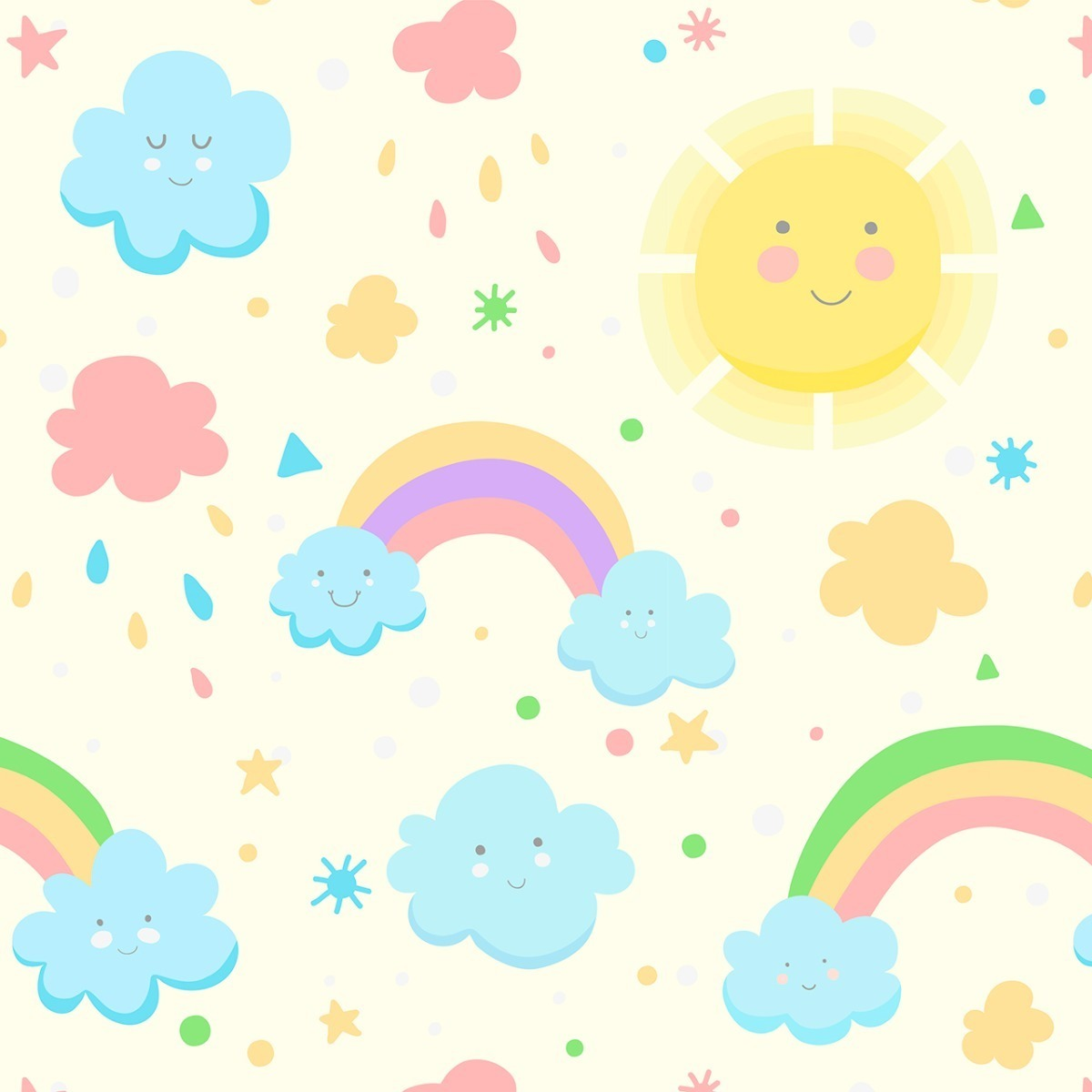Adesivo Infantil Papel De Parede Arco Iris Nuvem Sol Ceu R 89