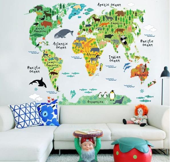 Aparador Verde Musgo ~ Adesivo Infantil Papel De Parede Autocolante Mapa Mundi Zoo R$ 119,00 em Mercado Livre