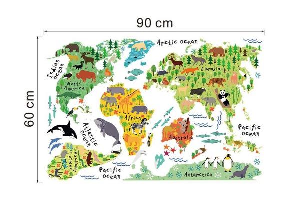 Adesivo De Parede Espelhado ~ Adesivo Infantil Papel De Parede Autocolante Mapa Mundi