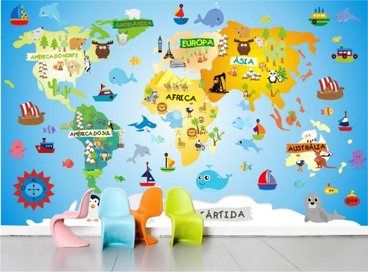 Aparador Verde Musgo ~ Adesivo Infantil Papel De Parede Mapa Mundi Decorativo Bebe R$ 129,00 em Mercado Livre