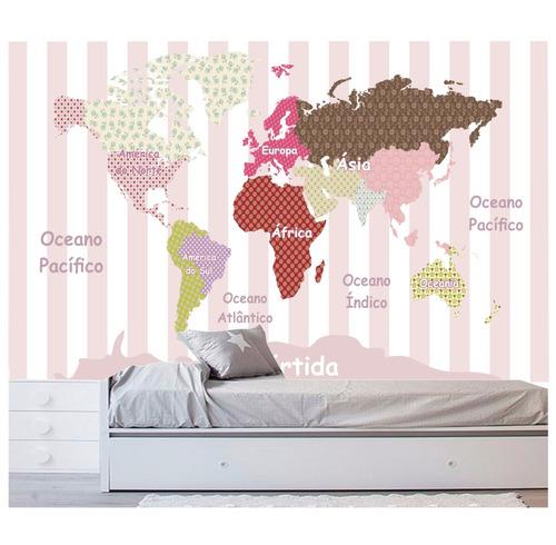 adesivo infantil papel de parede mapa mundi rosa menina m105