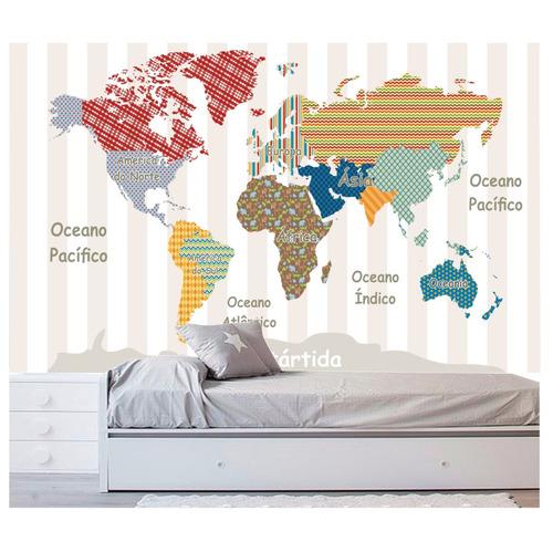 adesivo infantil papel parede mapa mundi quarto menino m104