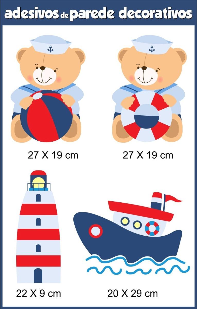 Aparador Ferro Com Vidro ~ Adesivo Infantil Marinheiro Papel Parede Urso Ursinho Barco R$ 98,89 em Mercado Livre