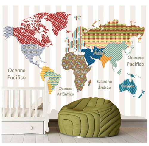 Aparador Estreito Para Sala ~ Adesivo Infantil Papel De Parede Mapa Mundi Listras 7m u00b2
