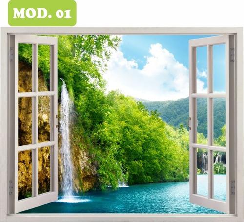 adesivo janela parede cachoeira paisagem 0,80 x 1,00 mod.01