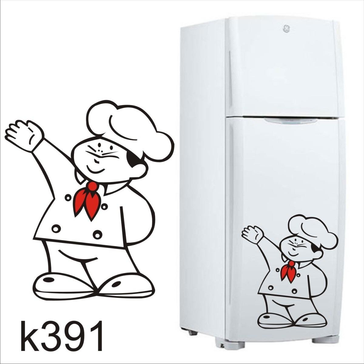 Armario Planejado Para Cozinha Pequena ~ Adesivo K391 Adesivo Cozinheiro De Geladeira Chef R$ 85,54 em Mercado Livre