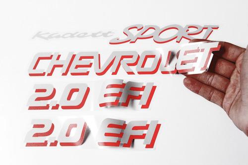 adesivo kit jogo chevrolet kadett sport 2.0 efi prata/verm