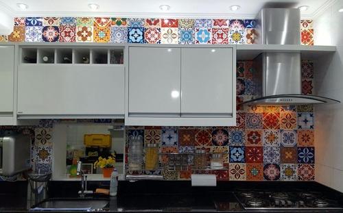 adesivo ladrilho hidráulico azulejo portugues para cozinha