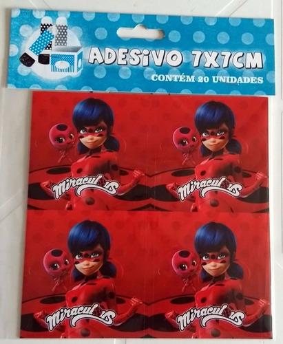adesivo ladybug quadrado 7x7cm (20 unidades)