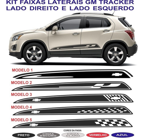 adesivo lateral  chevrolet tracker sport kit gm