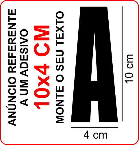 adesivo letras números (1) 10x4 cm alfabeto frete fixo