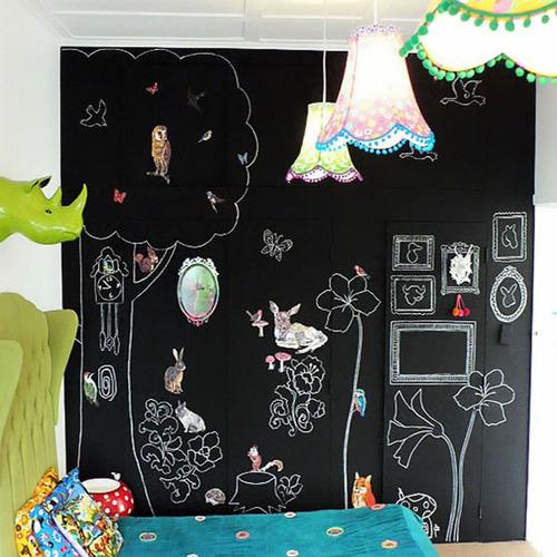 adesivo lousa giz quarto armário papel parede pro + brinde