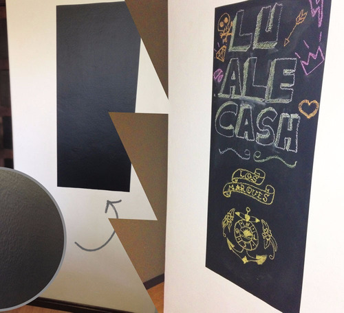 adesivo lousa quadro negro porta padere / 2m x 1m + 8 giz