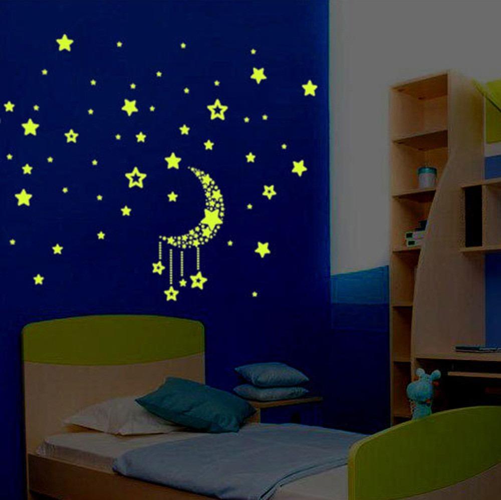 340080675 adesivo lua estrela brilham escuro quarto criança decoração. Carregando  zoom.