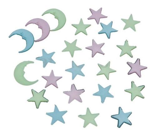adesivo lua estrela fluorescente escuro teto neon promoção