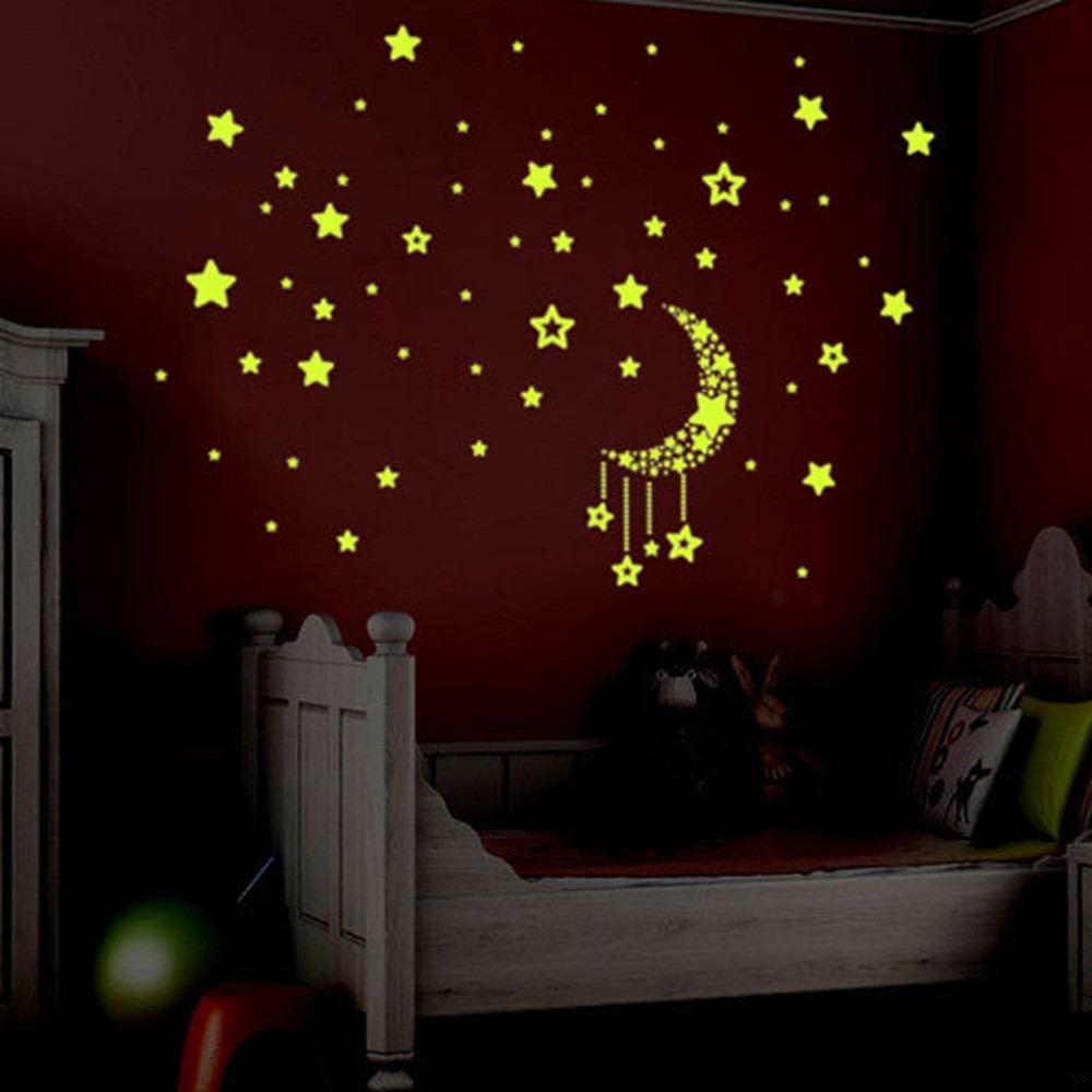 945effa91 adesivo lua estrela fluorescente quarto criança teto parede2. Carregando  zoom.