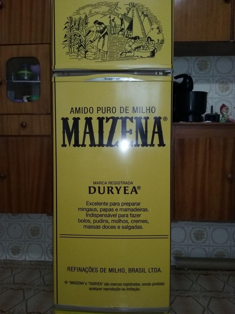 Armario Sob Medida Para Cozinha ~ Adesivo Maizena Vintage Retro Envelopamento De Geladeira R$ 92,00 em Mercado Livre