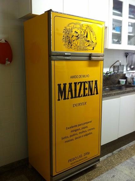 Armario Planejado Para Cozinha Pequena ~ Adesivo Maizena Vintage Retro Envelopamento De Geladeira R$ 92,00 em Mercado Livre