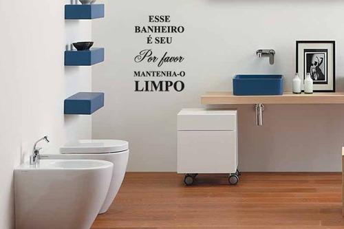 adesivo mantenha o banheiro limpo - mudo minha casa