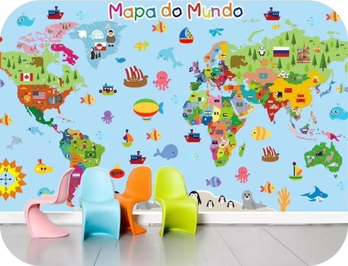 Adesivo Mapa Mundi Infantil Painel De Parede 2m Decoracao Quarto