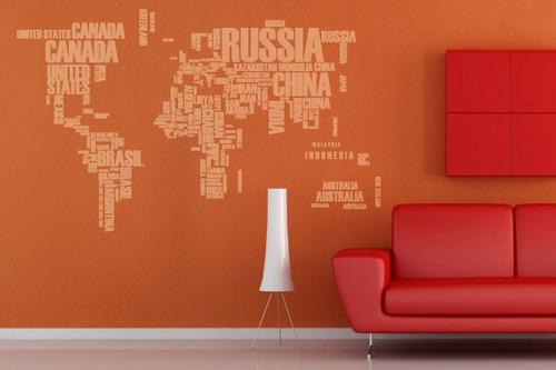 adesivo mapa mundi letras - mudo minha casa