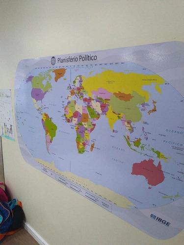 adesivo  mapa mundi politico - tamanho 110x65cm + brinde