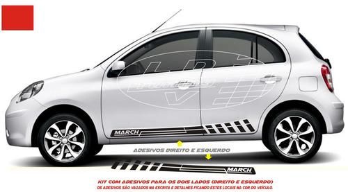 adesivo march kit faixa lateral acessórios tuning carro