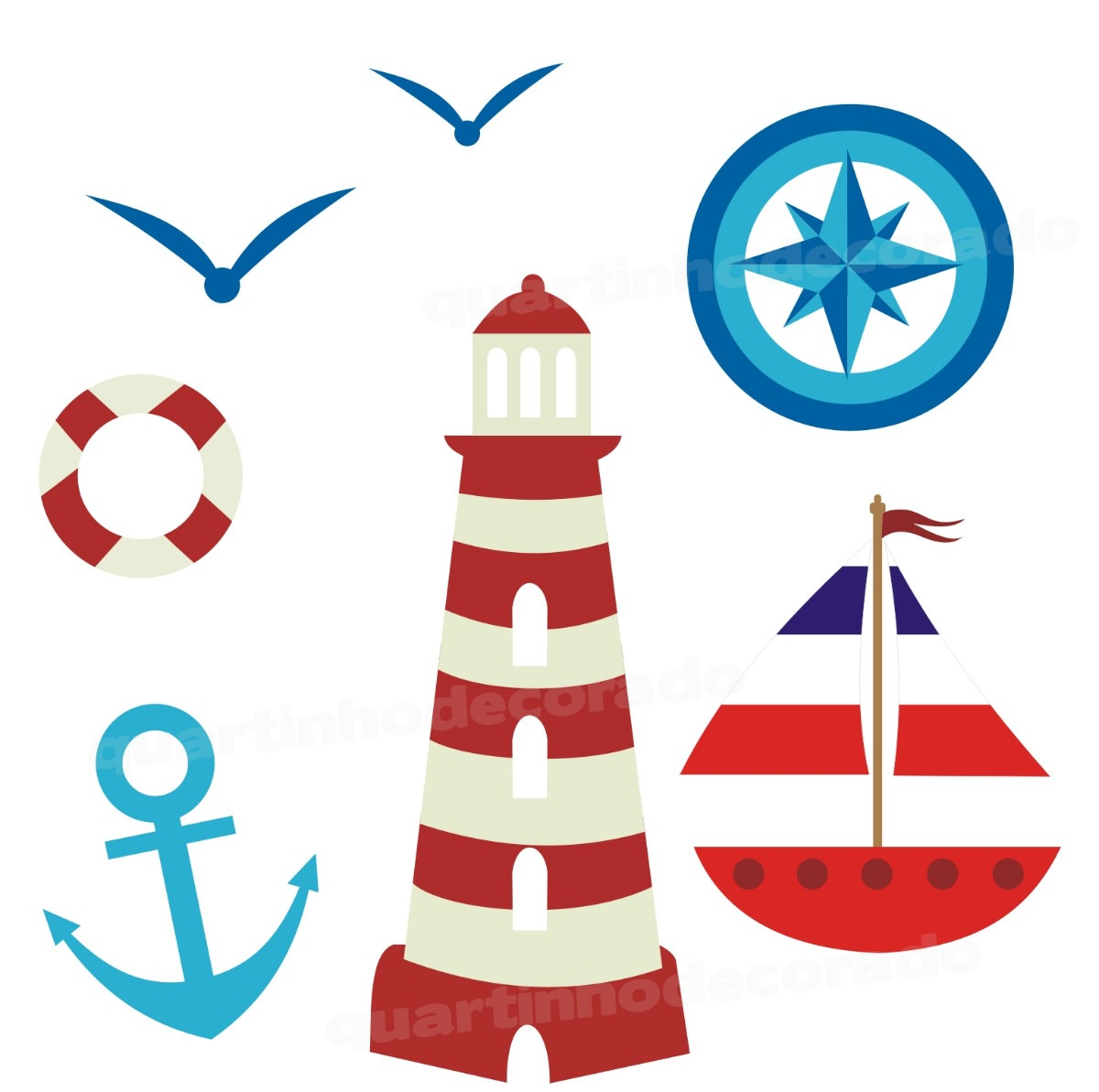 Aparador Ferro Com Vidro ~ Adesivo Marinheiro Quarto Infantil Peixe Peixinhos Mar Barco R$ 84,90 em Mercado Livre