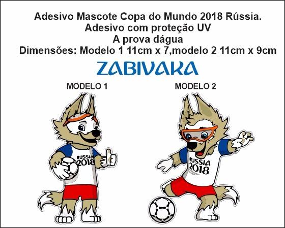 Adesivo Mascote Copa Do Mundo Futebol 2018 Rússia 11cm - R  17 665f2196f3d