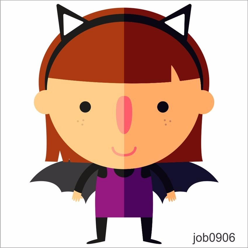adesivo menina morcego infantil desenho colorido job0906 r 64 99