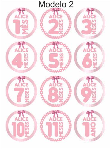 Artesanato Madeira Passo A Passo ~ Adesivo Mesversário Menina Lacinho 12 Un Com 12x12cm R$ 19,80 em Mercado Livre
