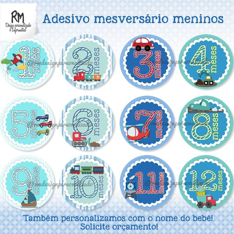 Armario Oriental Barato ~ Adesivo Mesversário Para Beb u00ea Kit Digital Para Imprimir R$ 25,00 em Mercado Livre