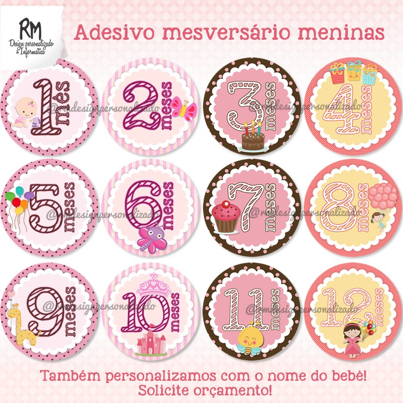 Adesivo Mesversario Para Imprimir ~ Adesivo Mesversário Para Beb u00ea Kit Digital Para Imprimir R$ 25,00 em Mercado Livre