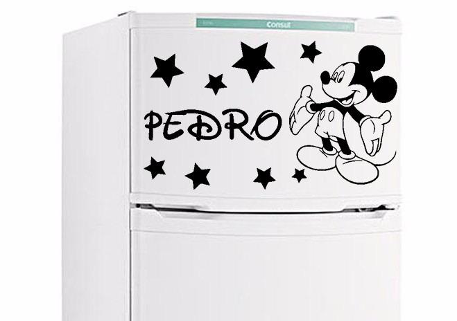 Tricolandia Artesanato Londrina ~ Adesivo Mickey Ou Minnie + Nome Para Geladeira E Parede R$ 24,90 em Mercado Livre