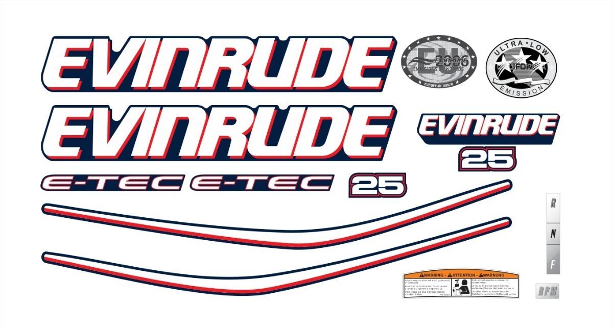 Adesivo Motor De Popa Evinrude 25 Hp Etec