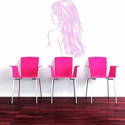 adesivo mulher parede salão de beleza cabeleireiro 70x100 cm