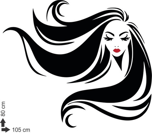 adesivo mulher parede salão de beleza cabeleireiro 80x105cm