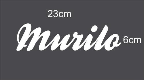 adesivo nome ( murilo ) 23cm x 6cm branco plotter recorte