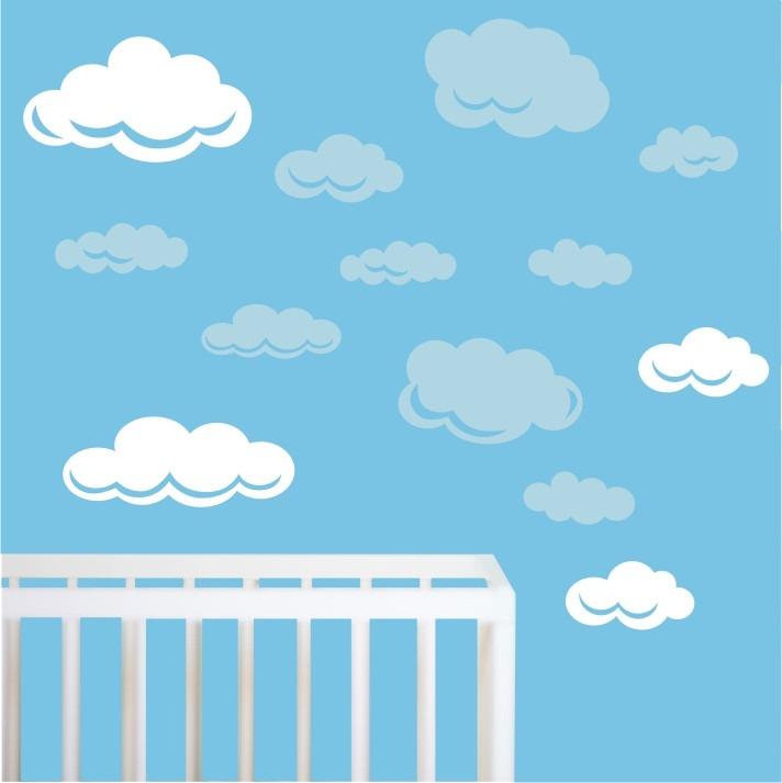 Artesanato Infantil Passo A Passo ~ Adesivo Nuvens Quarto Infantil Parede Kit Nuvem Bebe Zoo M08 R$ 89,90 em Mercado Livre