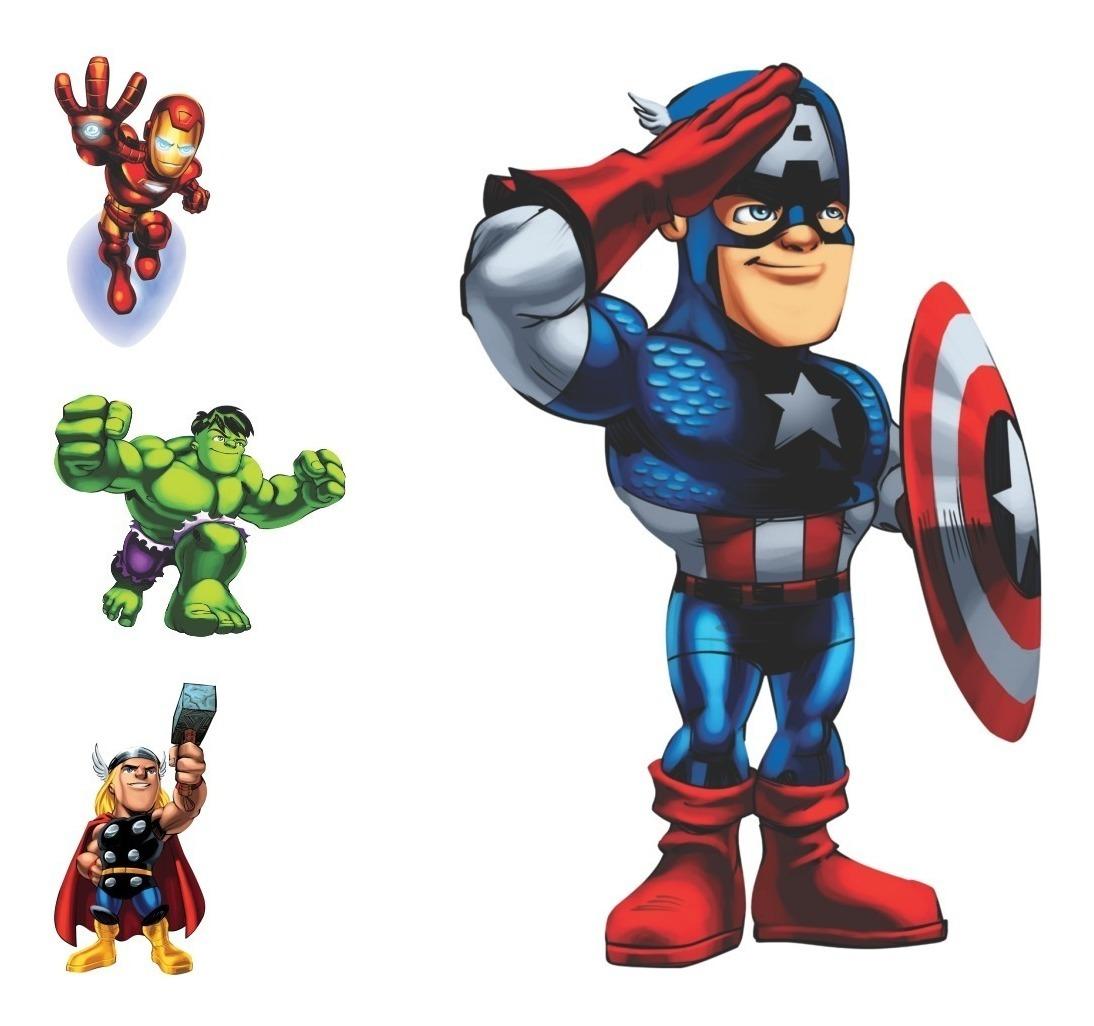 Adesivo P Crianca Marvel Super Hero Squad Vingadores Kids R 29
