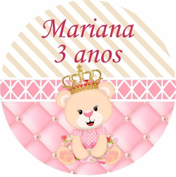 Adesivo Para Moto Frases ~ Adesivo P Latinha 30 Und Ursinha Princesa Coroa Chá De Beb u00ea R$ 12,00 em Mercado Livre