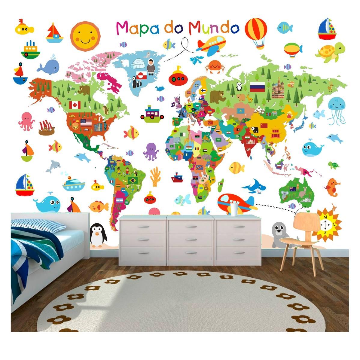 Artesanato Garrafa Pet Para O Natal ~ Adesivo Painel Mapa Mundi Infantil Papel De Parede Gg13 R$ 299,90 em Mercado Livre