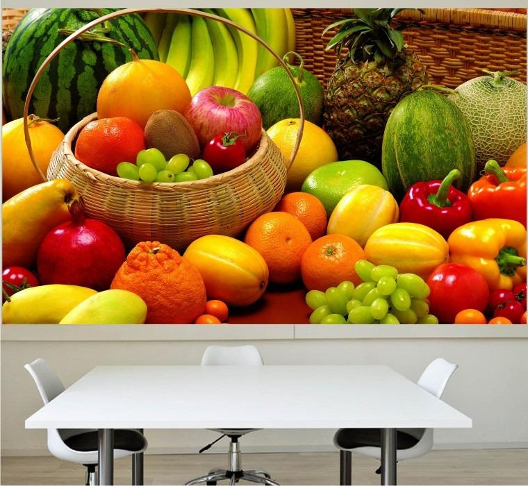 Adesivo painel papel parede cozinha churrasqueira frutas - Papel vinilico para paredes ...