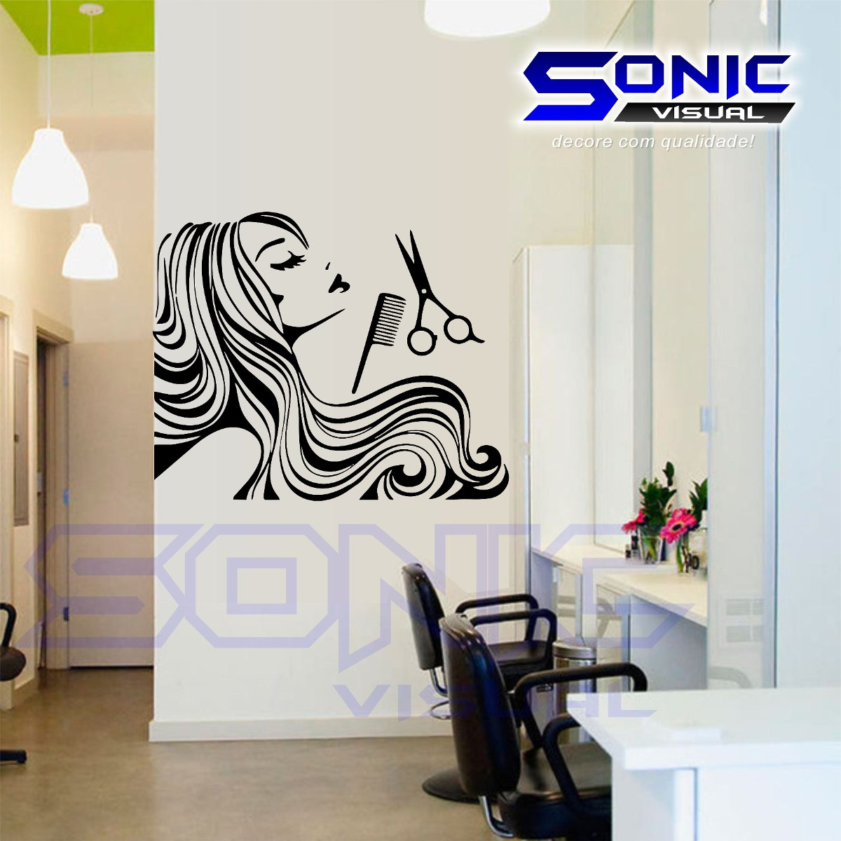 Adesivo papel de parede cabeleireiro sal o beleza manicure for Papel para paredes salon