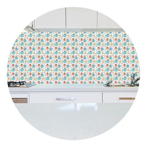 adesivo papel de parede cozinha chá café cz-06 - 95 unidades