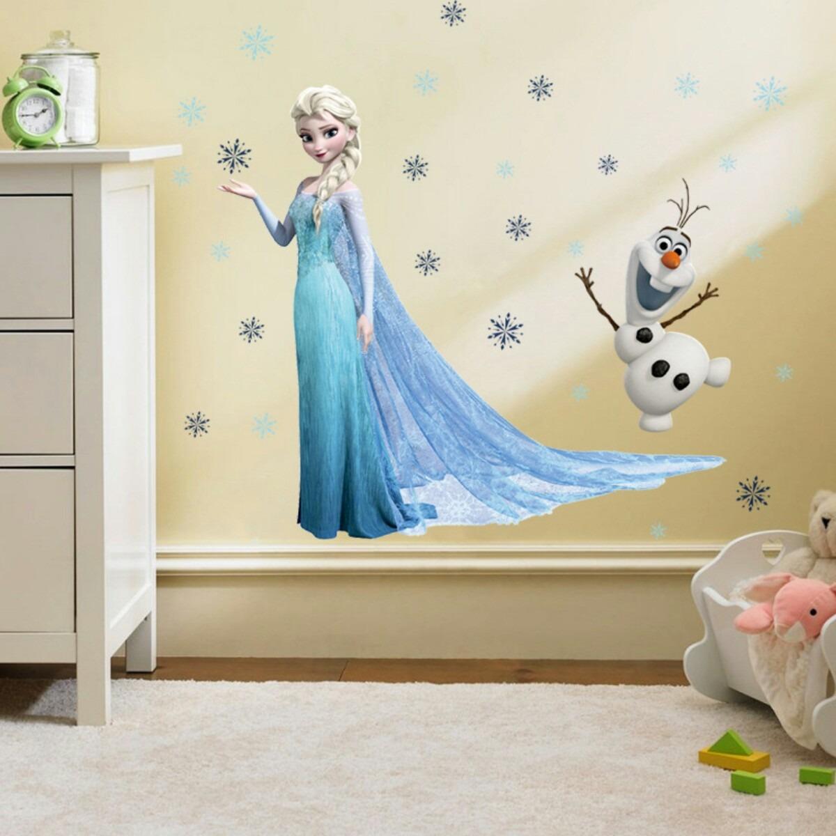 Aparador Walmart ~ Adesivo Papel De Parede Frozen Elsa, Olaf E Flocos De Neve R$ 65,00 em Mercado Livre