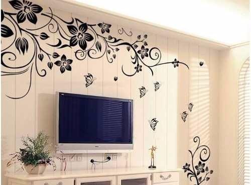 Adesivo papel de parede pvc vin lico floral com - Vinilico para paredes ...